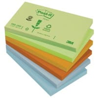 Post-it® Pastel Rainbow Recycled Notes  (76 mm x 127 mm) 12 pads per pack