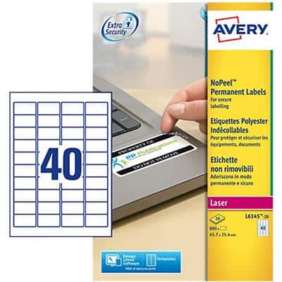 Avery L6145-20 No Peel Labels A4 White 45.7 x 25.4 mm 20 Sheets of 40 Labels