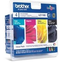 Brother LC1100 Original Black & 3 Colours Ink Cartridge LC-1100VALBP