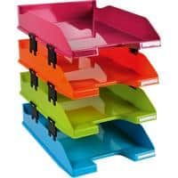 Exacompta Letter Tray Combo Polystyrene Assorted 25.4 x 24.3 x 34.6 cm Pack of 4