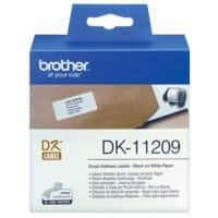 Brother Label Roll DK-11209 Black on White 29 mm x 62 mm 800 Labels