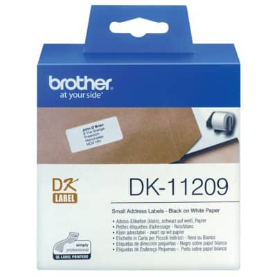 Brother Address Labels DK11209 62 x 29 mm White 800 Labels