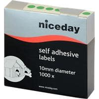 Niceday Coloured Dot Labels Green Self Adhesive Ø 10 mm 1000 Labels per Pack