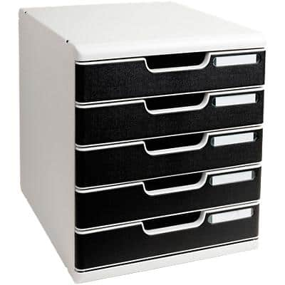 Exacompta Filing Drawers A4 Expandable 5-drawer set Light Grey/Black