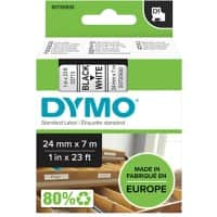 DYMO D1 53713 Label Tape, Authentic, Self Adhesive, Black Print on White 24 mm x 7 m