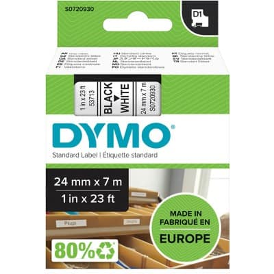 DYMO Labelling Tape 53713 D1 7 m Black , White