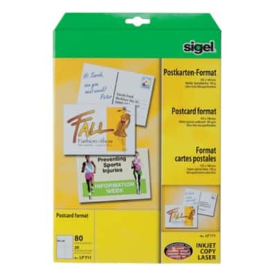 Sigel PC 185gsm A6 Record Cards-White