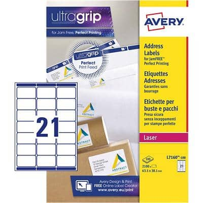 Avery L7160-100 Address Labels A4 White 63.5 x 38.1 mm 100 Sheets of 21 Labels