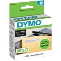 DYMO LW S0722520 Address Labels, Authentic, Self Adhesive, White 25 mm x 54 mm, 500 Labels