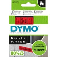 DYMO Labelling Tape 45017 12 mm x 7 m Black , Red
