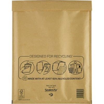 Sealed Air Mailing Bags H/5 79gsm Gold Plain Peel and Seal 360 x 270 mm 50 Pieces