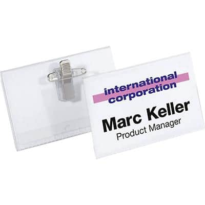 DURABLE Standard Name Badge with Combi clip 8157-19 75 x 40 mm 50 Pieces