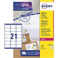 Avery L7160-250 Address Labels Self Adhesive 63.5 x 38.1 mm White 250 Sheets of 21 Labels