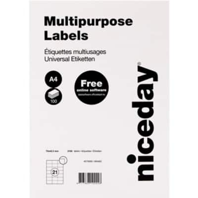 Niceday Multipurpose Labels 70 x 42.3 mm Adhesive White 100 Sheets Pack of 2100 Labels