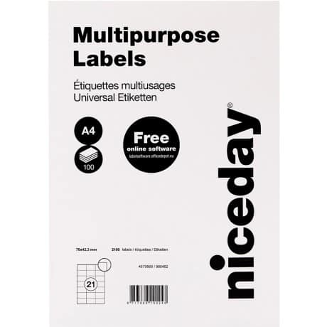 Niceday Multipurpose Labels White 42.3 x 70 mm 100 sheets of 21 labels