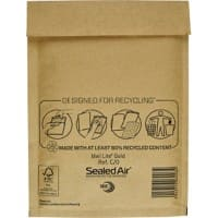 Sealed Air Mailing Bags C/0 79gsm Gold Plain Peel and Seal 100 Pieces