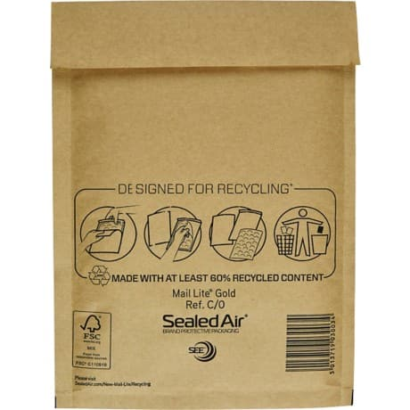 Sealed Air Air Cushion Bags c/0 79gsm Gold plain peel and seal 100 pieces