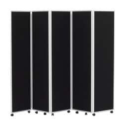 Concertina Display System/Room Divider - Black 5 Screen 180 cm