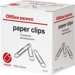 Office Depot Paper Clips Small 25 mm 1000 Per Box