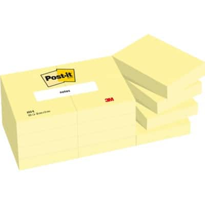 Post-it Sticky Notes 38 x 51 mm Yellow 12 Pieces of 100 Sheets