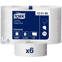 Tork Toilet Paper T1 Universal Jumbo 1 Ply 6 Rolls of 2400 Sheets