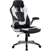 Realspace Basic Tilt Gaming Chair with 2D Armrest and Adjustable Seat Nitro Bonded Leather Black & White