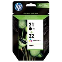 HP 21/22 Original Ink Cartridge SD367AE Black & 3 Colours 2 Pieces