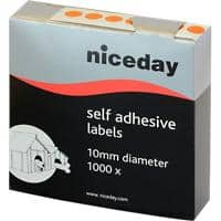 Niceday Coloured Dot Labels 182271 Circular Orange Self Adhesive Ø 10 mm 1000 Labels per Pack