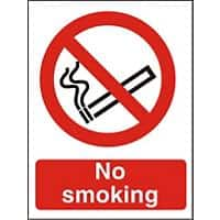 Prohibition Sign No Smoking Self Adhesive PVC 15 x 20 cm