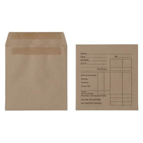 Wage Envelopes 90gsm Brown plain self seal 1000 pieces