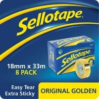 Sellotape Tape Original Golden Polypropylene 18mm x 33m Transparent 8 Rolls