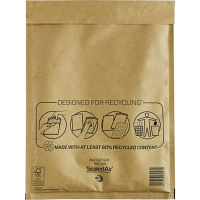 Sealed Air Mailing Bags G/4 79gsm Gold Plain Peel and Seal 330 x 230 mm 50 Pieces