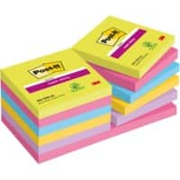 Post-it Super Sticky Notes Assorted Colours 76 x 76 mm 12 Pads of 90 Sheets