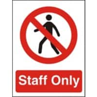 Prohibition Sign Staff Only Self Adhesive PVC 15 x 20 cm