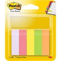 Post-it Index Flags Assorted Colour 15 x 50 mm 5 pads of 100 Strips