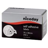 Niceday Address Labels 180815 White Self Adhesive 38 x 76 mm 250 Labels per Pack