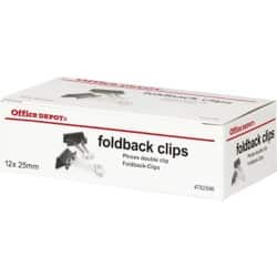 Office Depot Foldback Clips Black 25 mm 12 Per Box