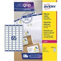 AVERY Mini Address Labels L7651-25 UltraGrip White A4 38.1 x 21.2 mm 25 Sheets of 65 Labels