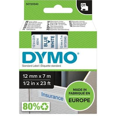 DYMO D1 Labelling Tape 45014 Blue on White 12 mm x 7 m