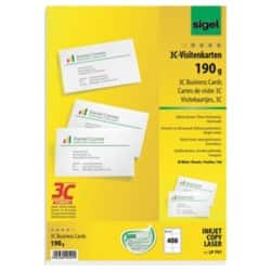 Sigel PC 190gsm Business Cards for Inkjet/Laser/Copier-High White (400/pack)