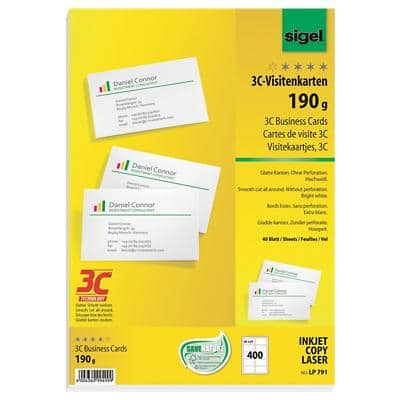 Sigel LP791 Business Cards 85 x 55 mm 190gsm White 400 Pack