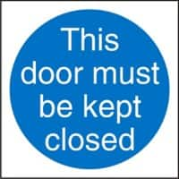 Mandatory Sign This Door Must Be Kept Closed vinyl 10 x 10 cm