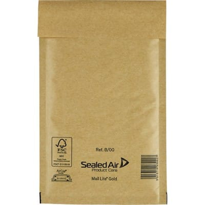 Sealed Air Mailing Bags B/00 79gsm Gold Plain Peel and Seal 210 x 120 mm 100 Pieces