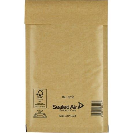 Sealed Air Mailing Bags b/00 79gsm Gold plain peel and seal 100 pieces