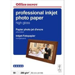 Office Depot Professional Inkjet Photo Paper, High Gloss, A4 280gsm