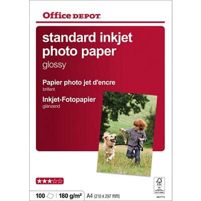 Office Depot Photo Paper Glossy A4 180gsm White 100 Sheets