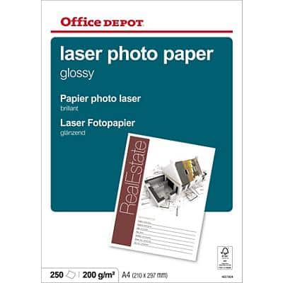 Office Depot Laser Photo Paper A4 200gsm White 250 Sheets