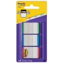 Post-it® Strong Lined Index Tabs Green/Blue/Red 25 mm 66 Tabs Per Pack