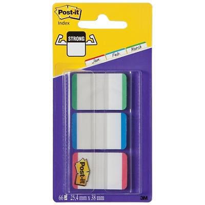 Post-it Index Strong Lined Filing Tabs 25.4 x 38.1 mm Assorted Green Blue Red 22 x 3 Pack