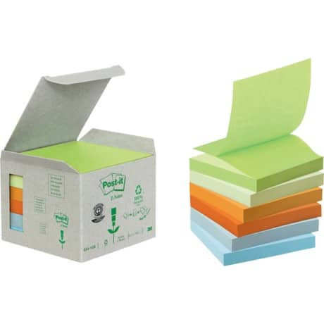 Post-it® Pastel Rainbow Recycled Z-Notes (76 mm x 76 mm) 6 pads per pack